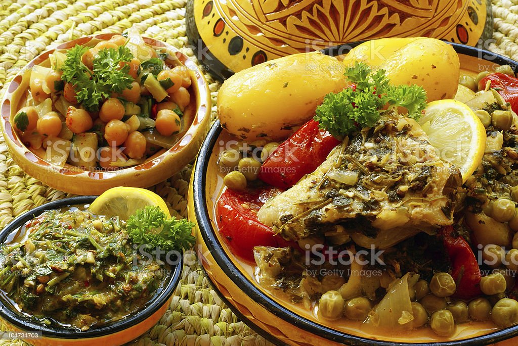 Close-up image of several bowls of Moroccan foods stock photo
