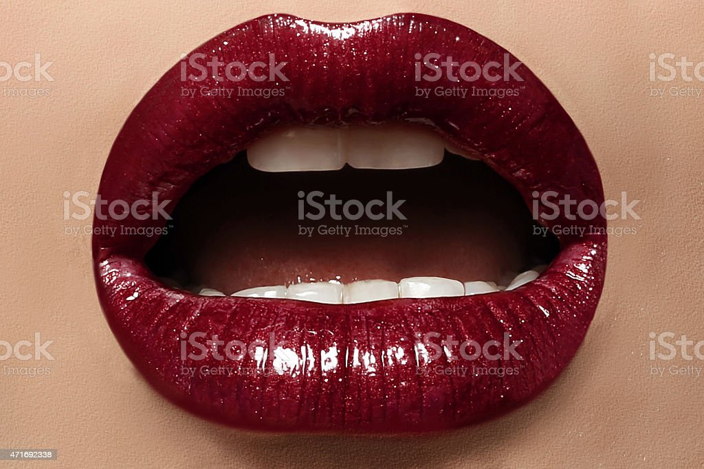 Close-up image of sexy female lips with perfect makeup stock photo