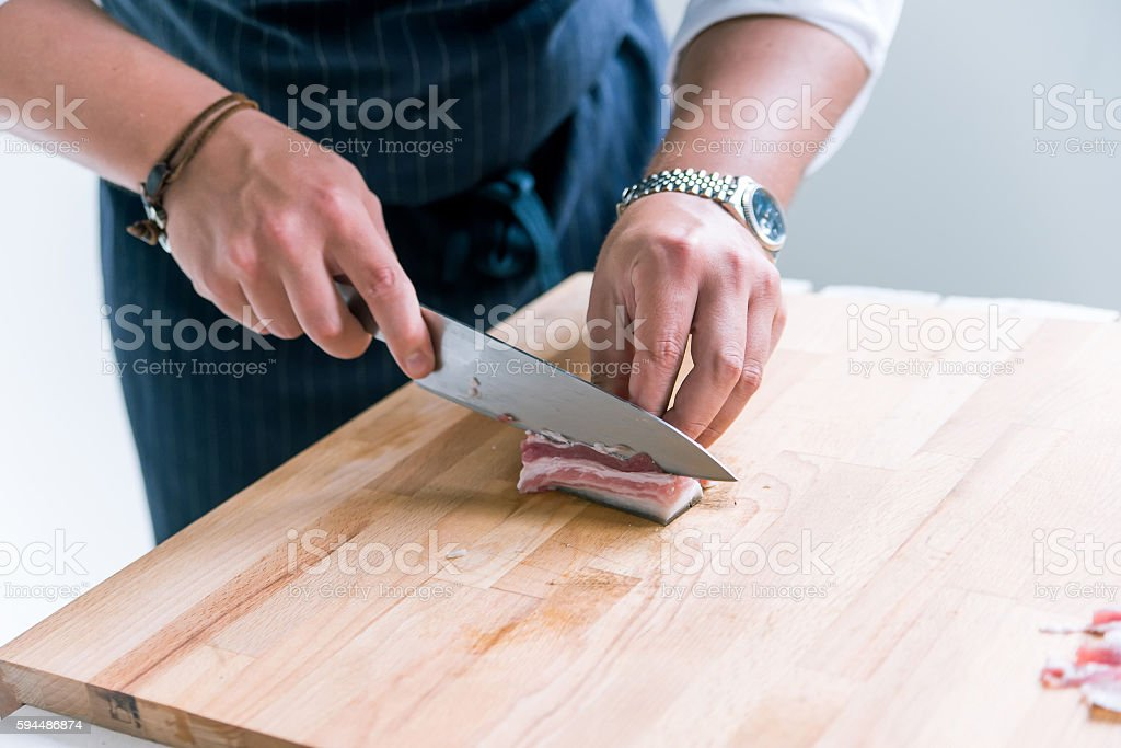 Close-up image of slicing ham stock photo