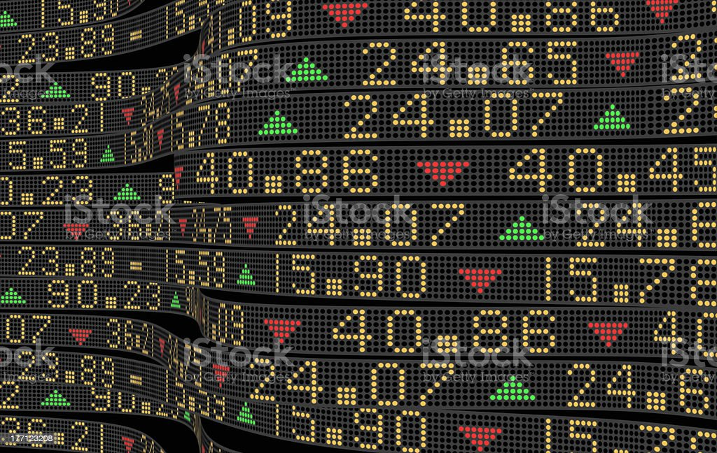 Close-up image of stock market digital ticker stock photo