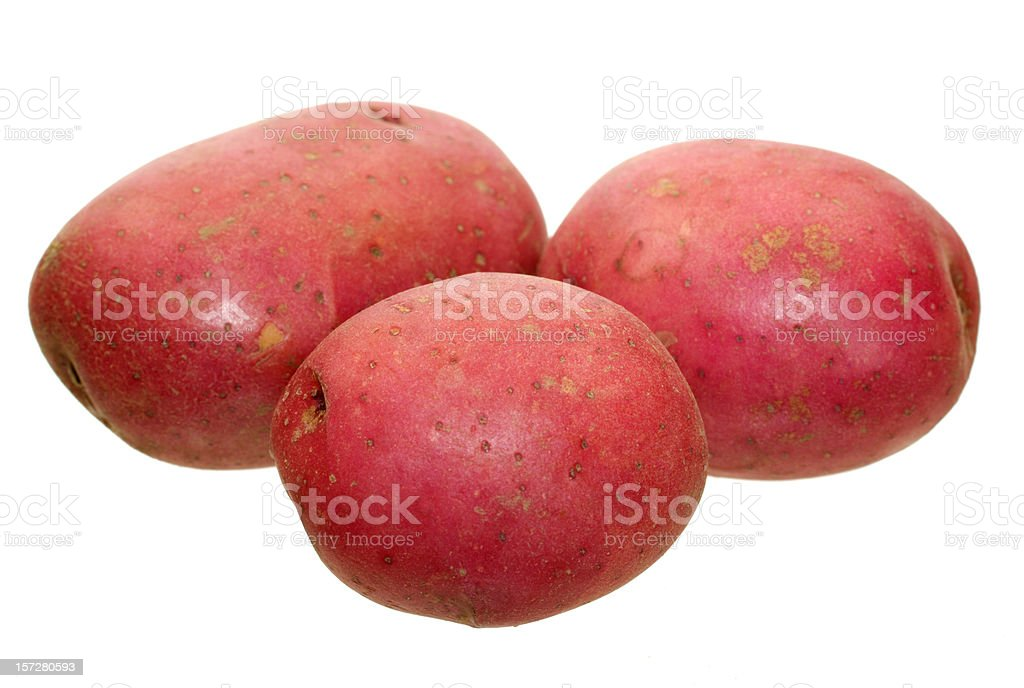 Close-up image of three red potatoes stock photo