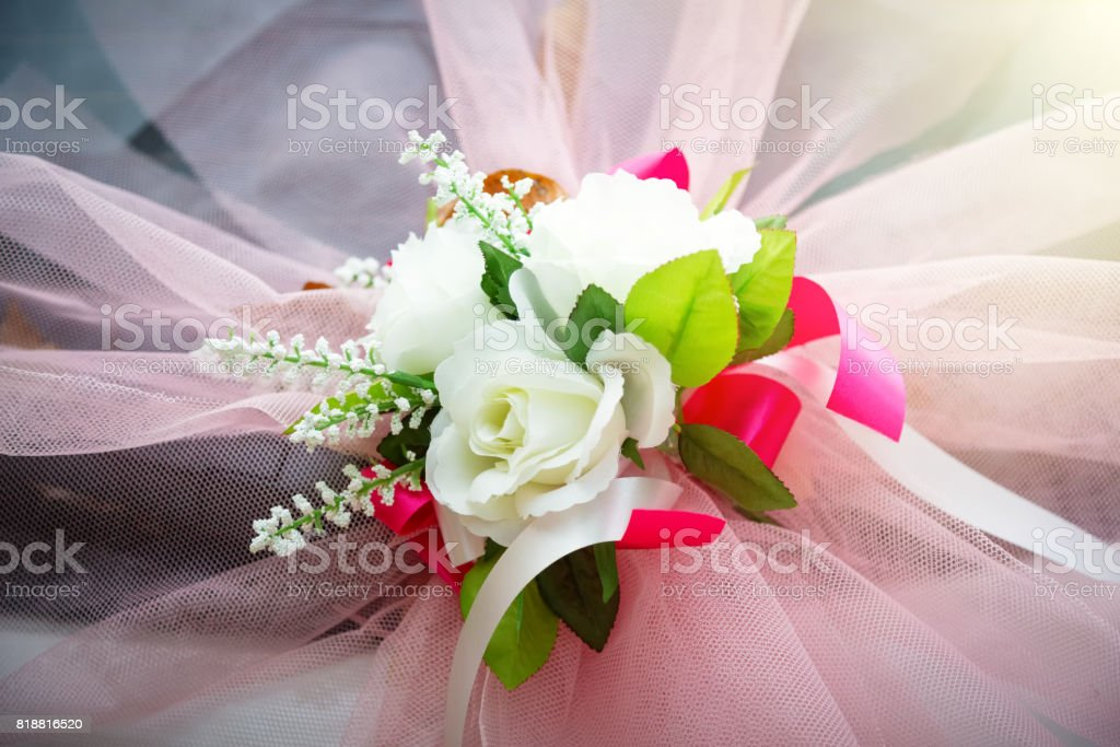 Closeup image of wedding car decoration with flowers bouquet,rose and carnation. stock photo