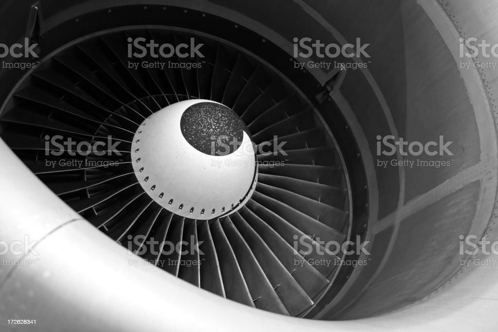 Close-up images of gray jet engine stock photo