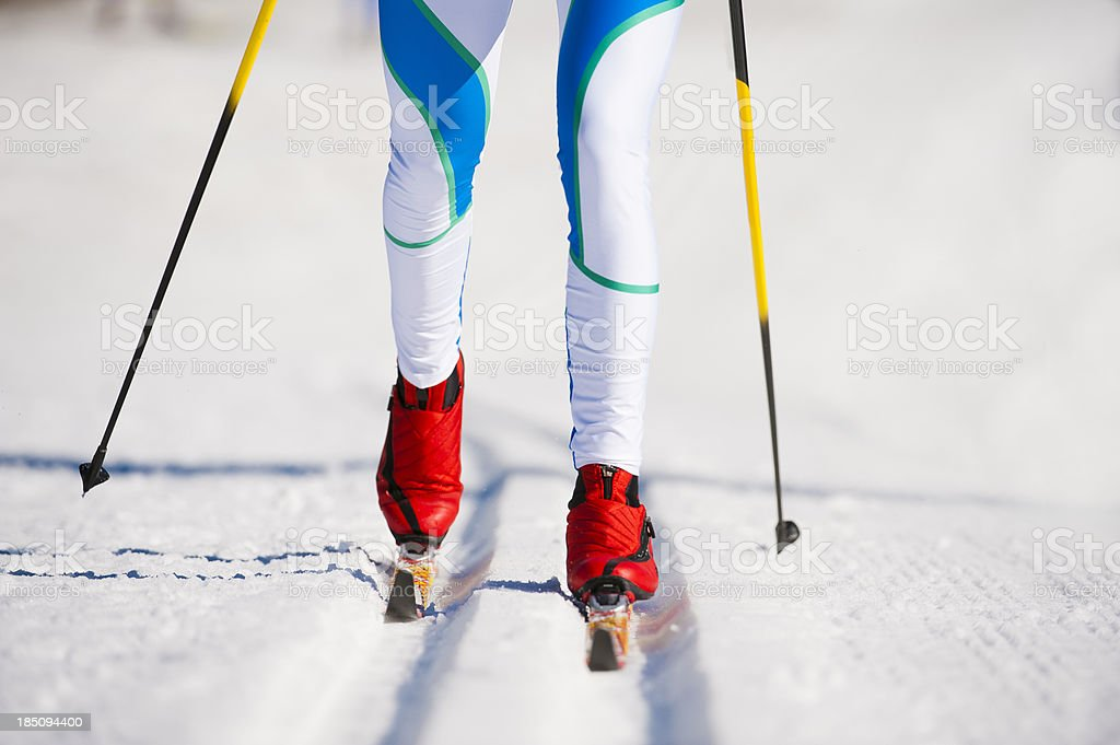 Close-up immage of young adult women at cross country skiing stock photo