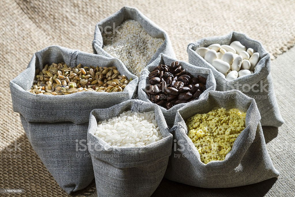 Closeup ingredients food in canvas bags royalty-free stock photo