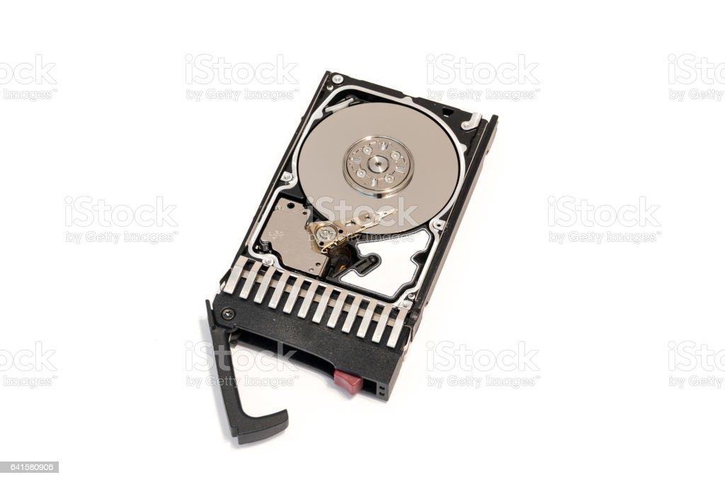 Close-up inside of hot plug SAS computer disk drive HDD stock photo