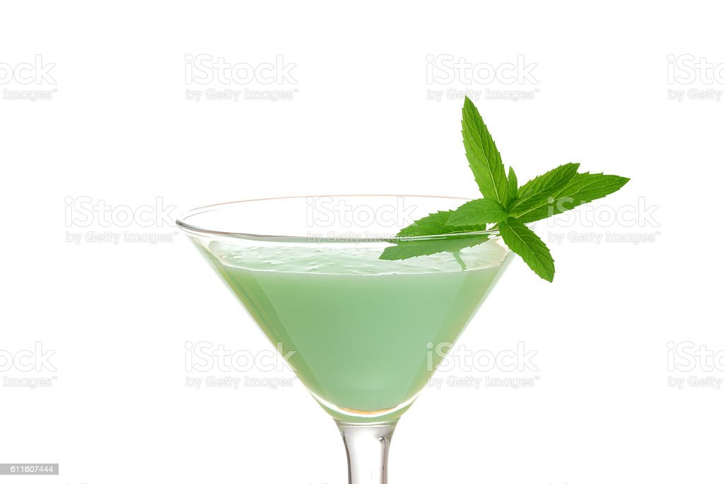 closeup isolated grasshopper cocktail with mint stock photo