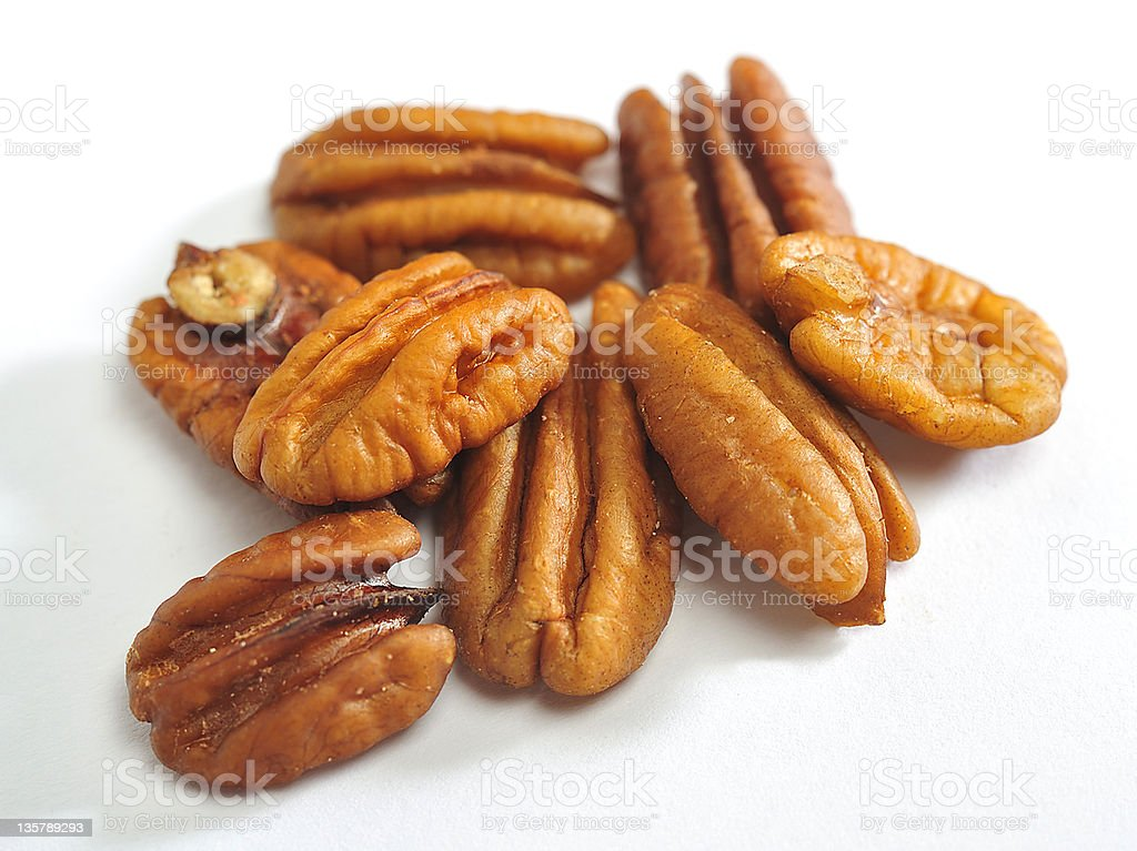 Close-up isolated image of pecans royalty-free stock photo