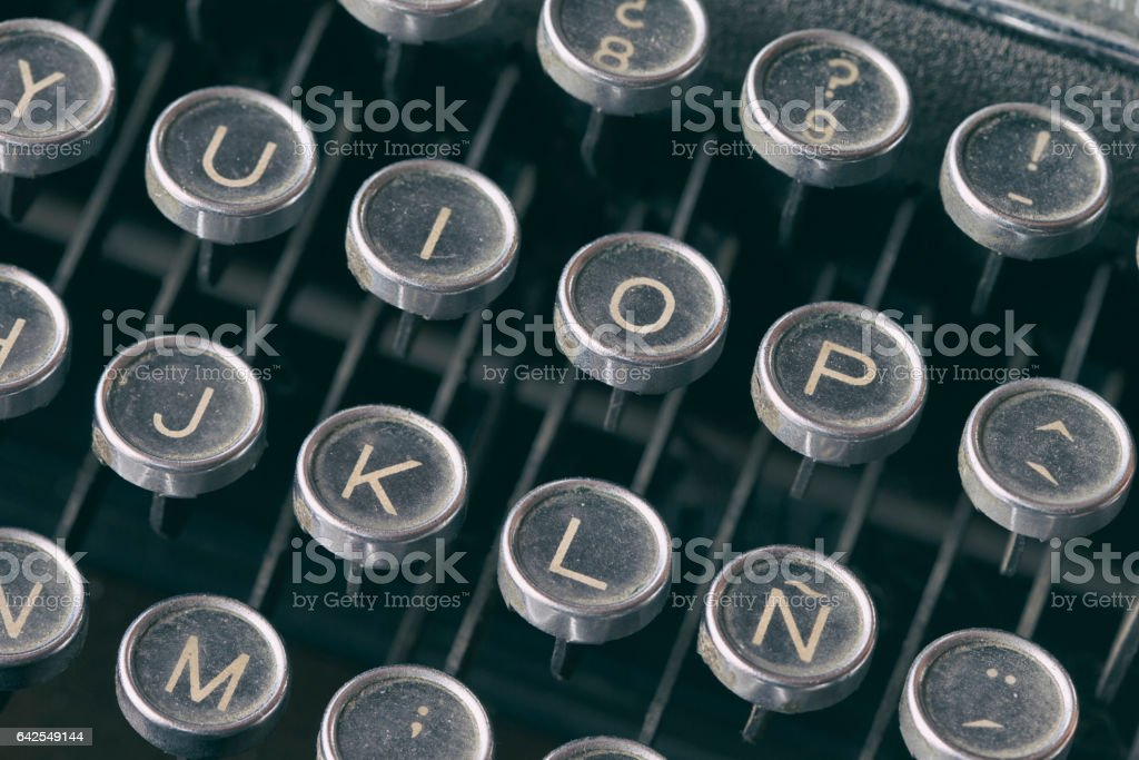 Close-up keyboard of typing machine stock photo