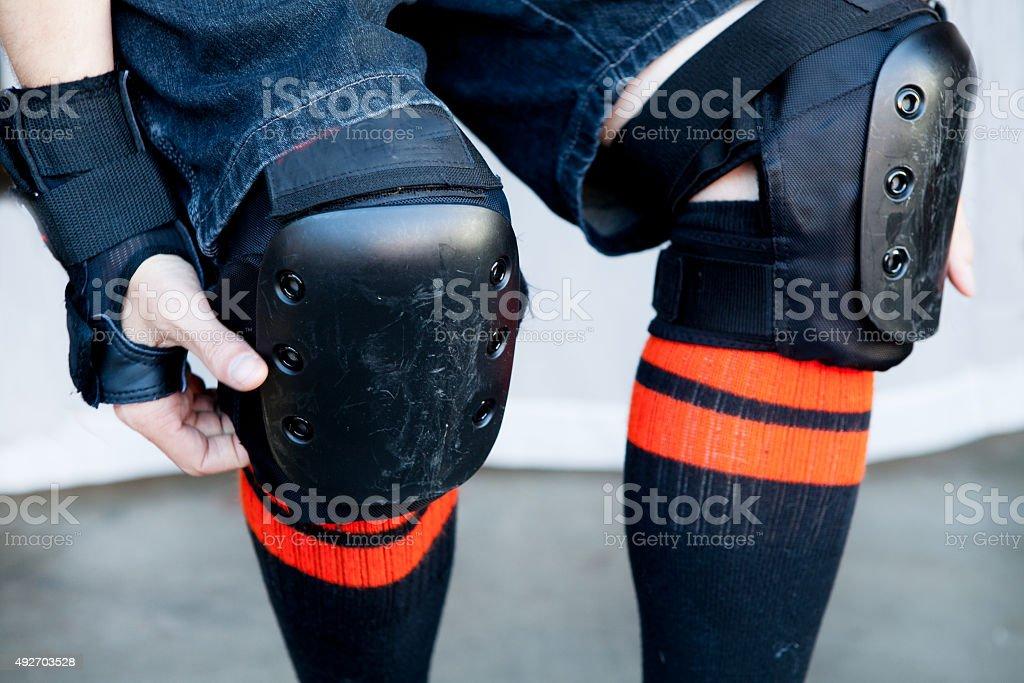 close-up knee pads stock photo
