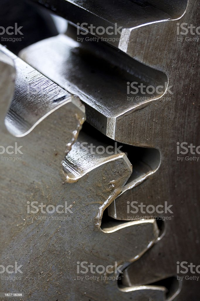 Close-up Large Greasy Gears / Cogs royalty-free stock photo
