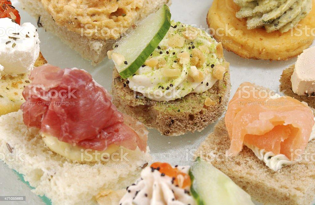 Closeup layout of various appetizers stock photo
