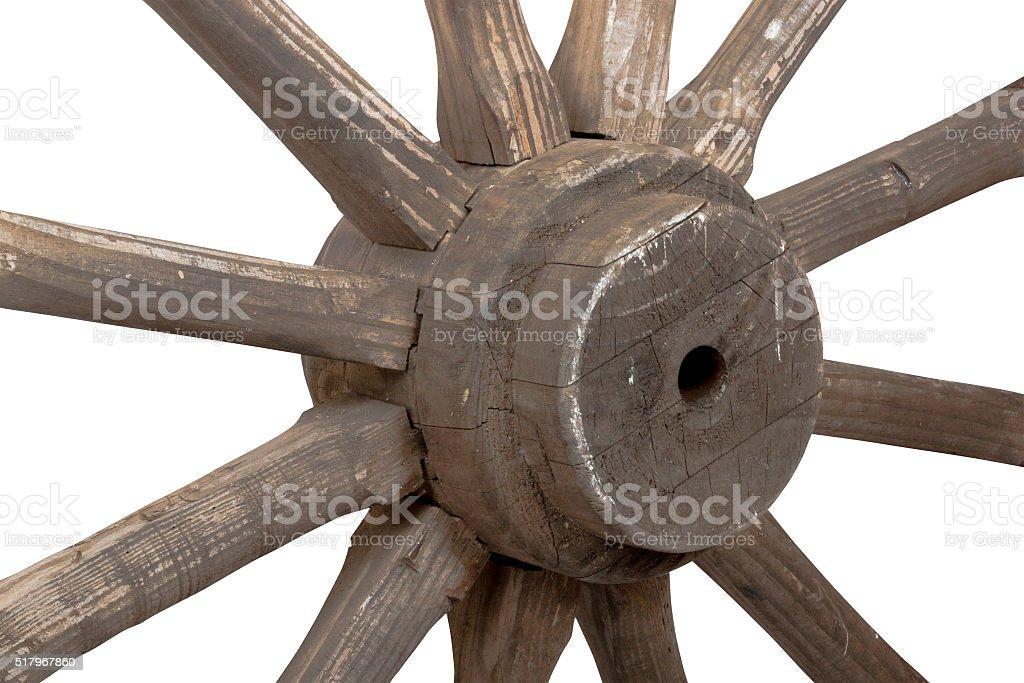 Closeup left view of vintage wooden wagon wheel stock photo
