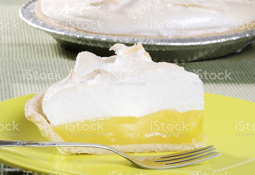 closeup lemon meringue pie stock photo