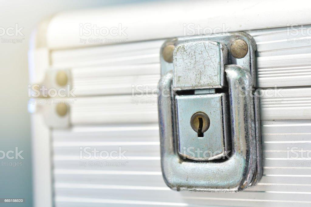 Close-up lock of metal case stock photo