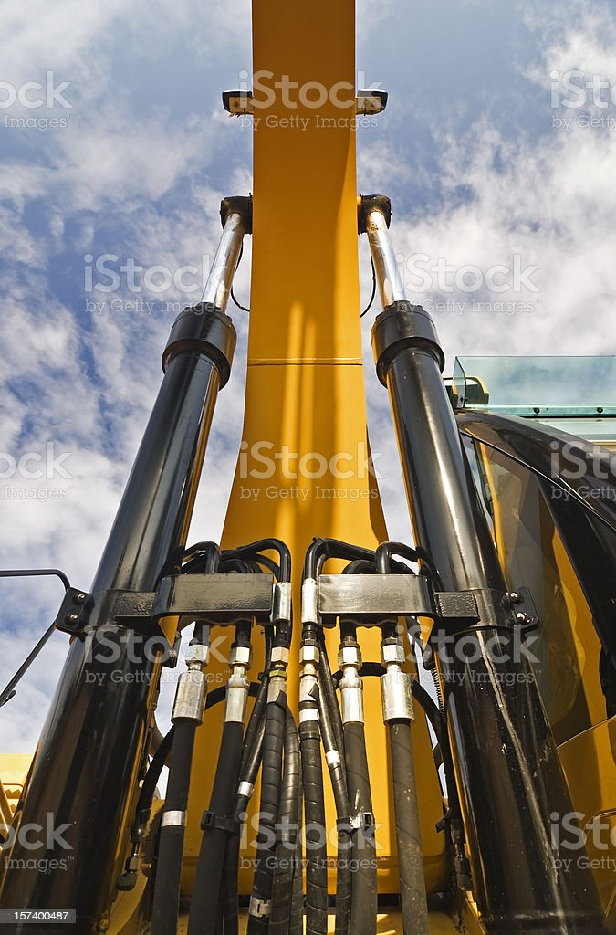 Close-up lolling up view of excavator royalty-free stock photo