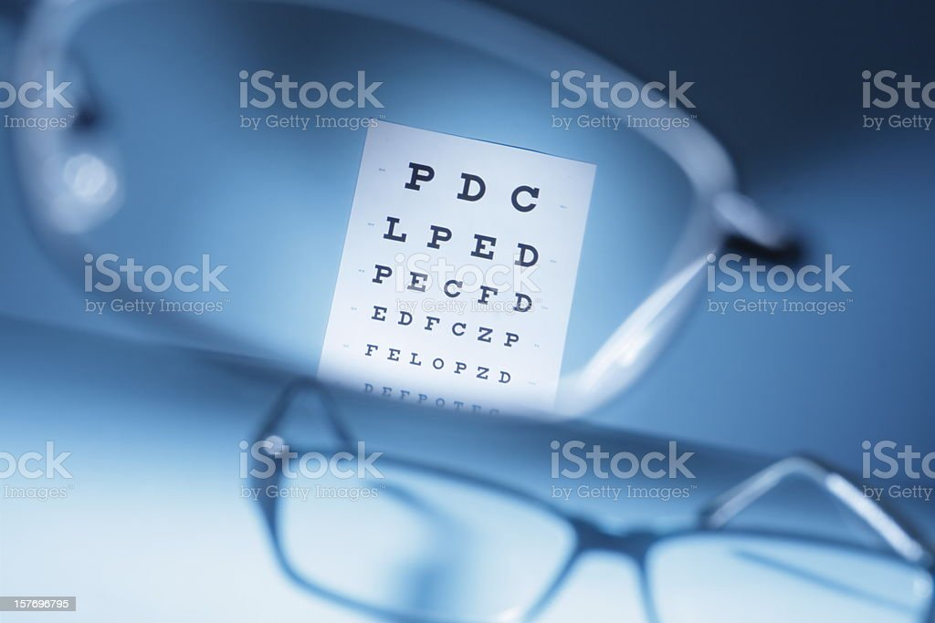 Close-up looking through glasses at an eye exam chart stock photo