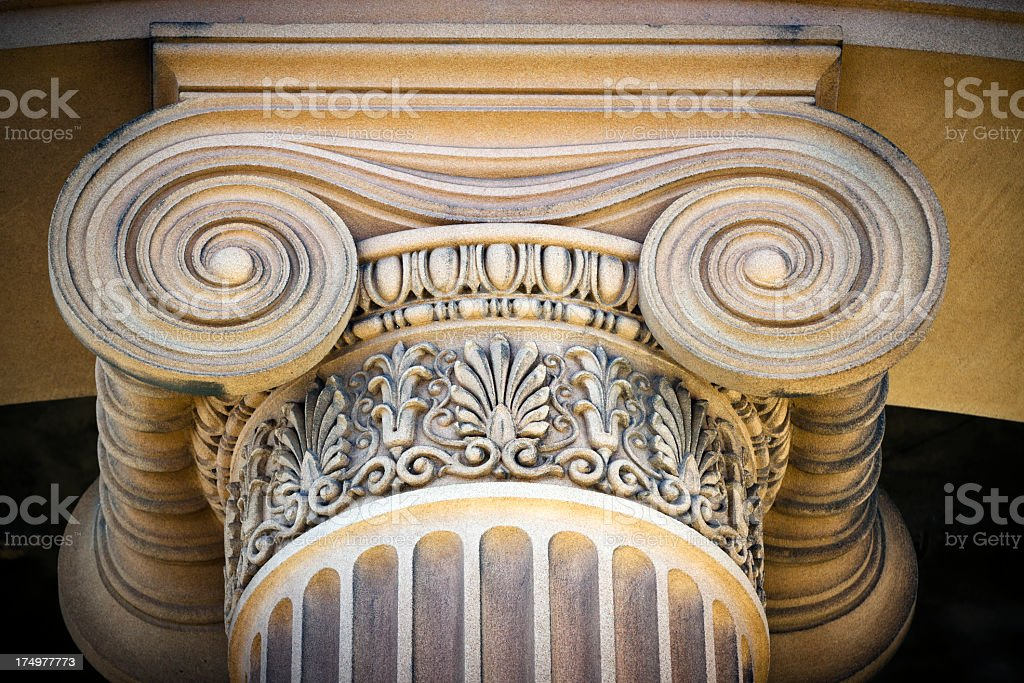 Closeup low angle view of classical column royalty-free stock photo