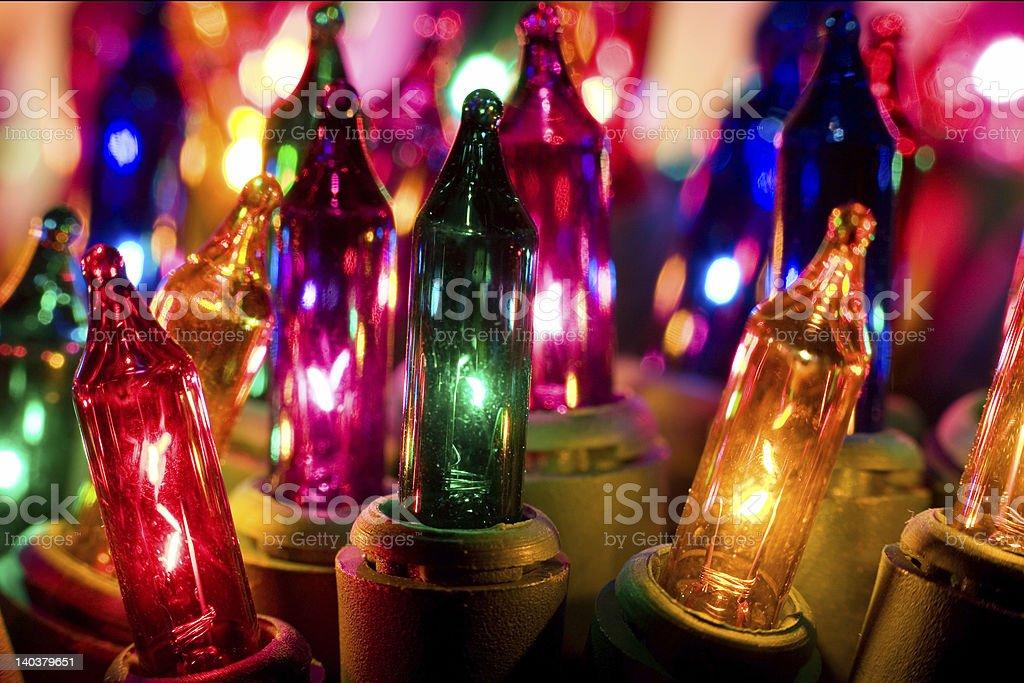 Closeup Macro Christmas Lights royalty-free stock photo