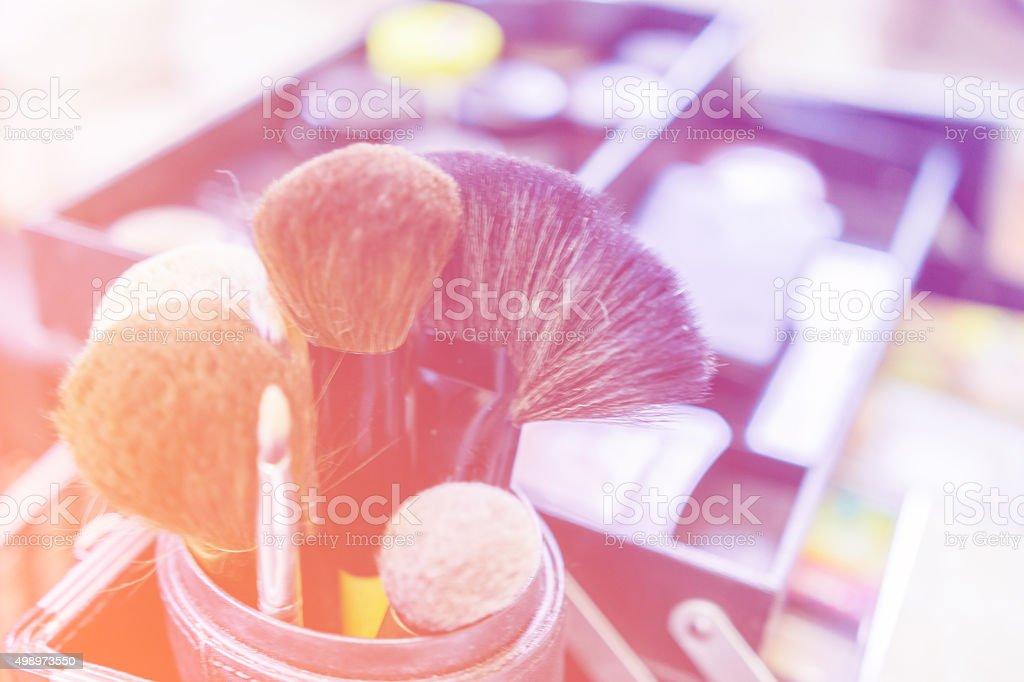 Closeup makeup brushes stock photo