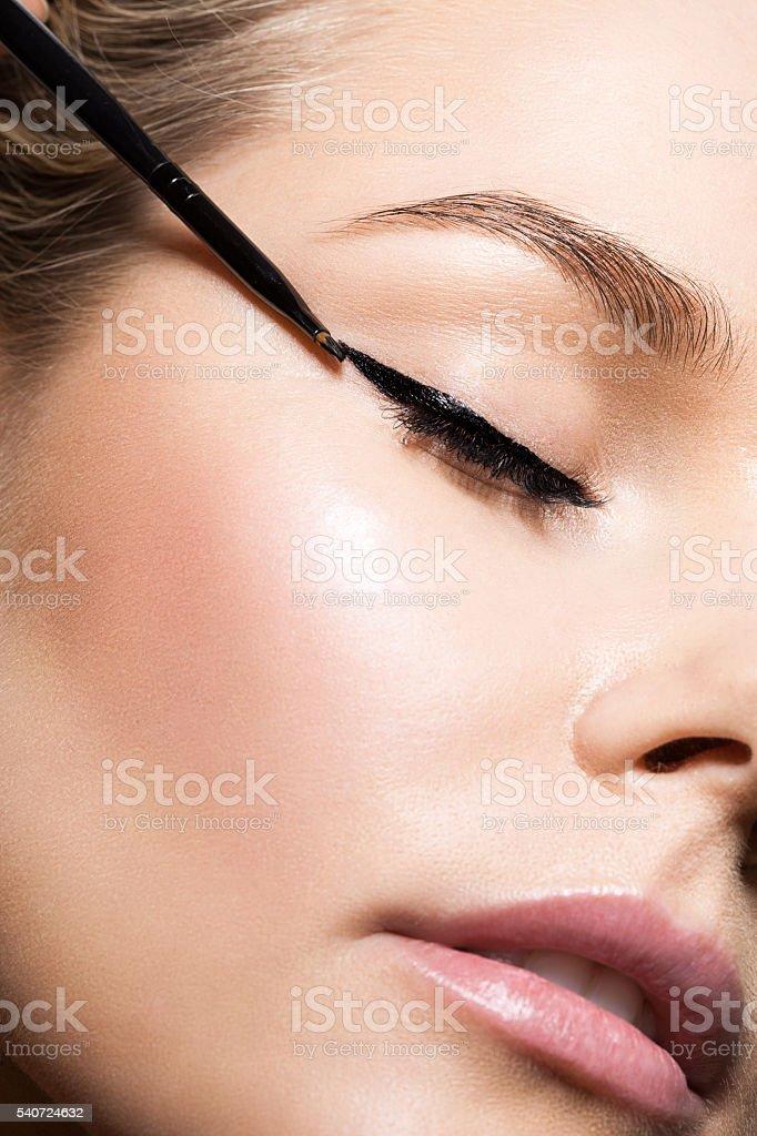 Close-up make-up with black eyeliner stock photo