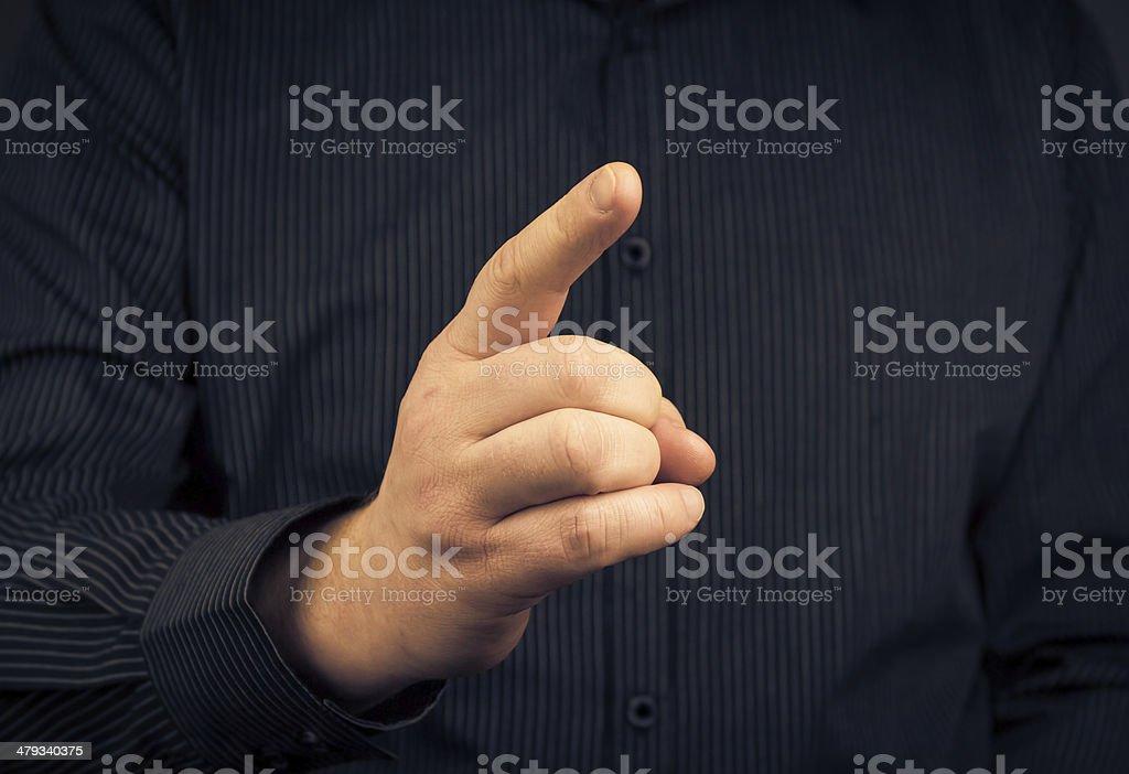 Closeup man who threatens finger stock photo