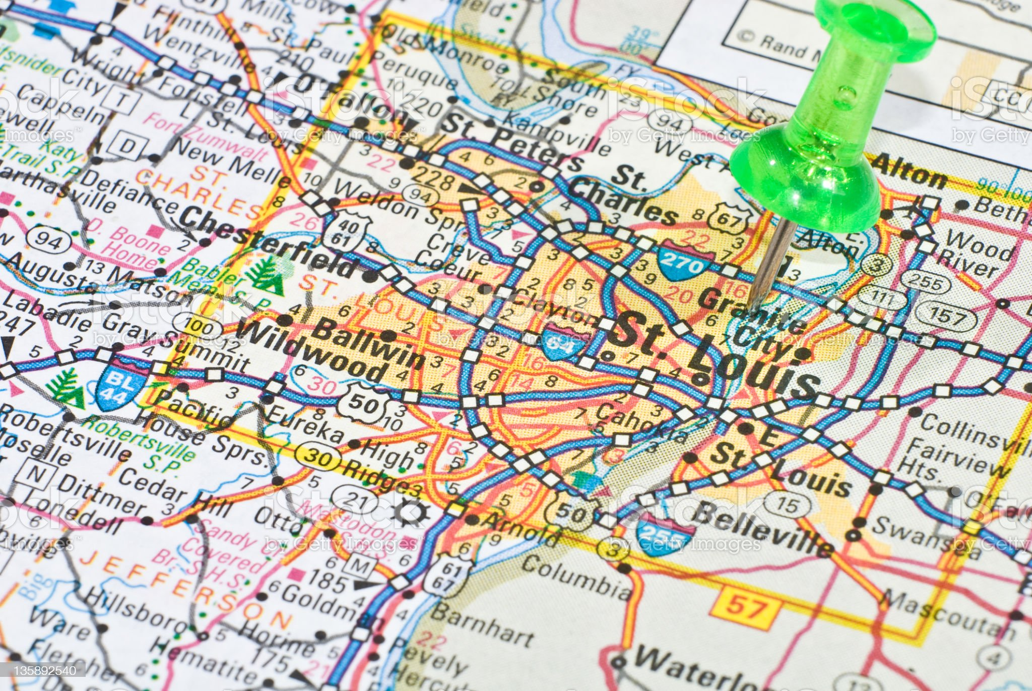 Close-up map of Saint Louis with green pin on it royalty-free stock photo