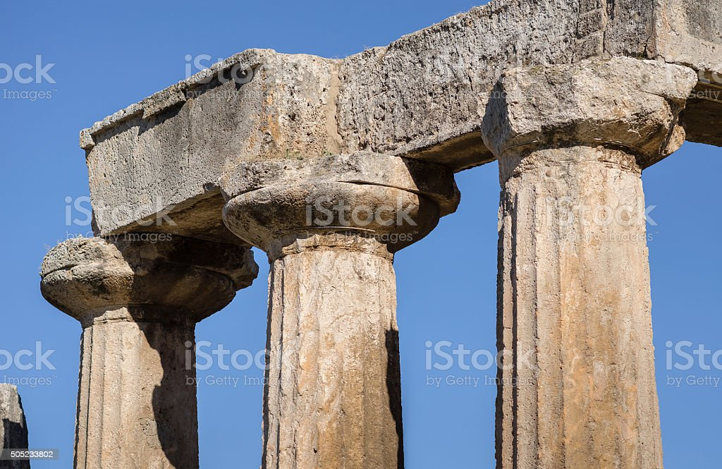 Close-up Marble Columns of the Ancient Temple stock photo