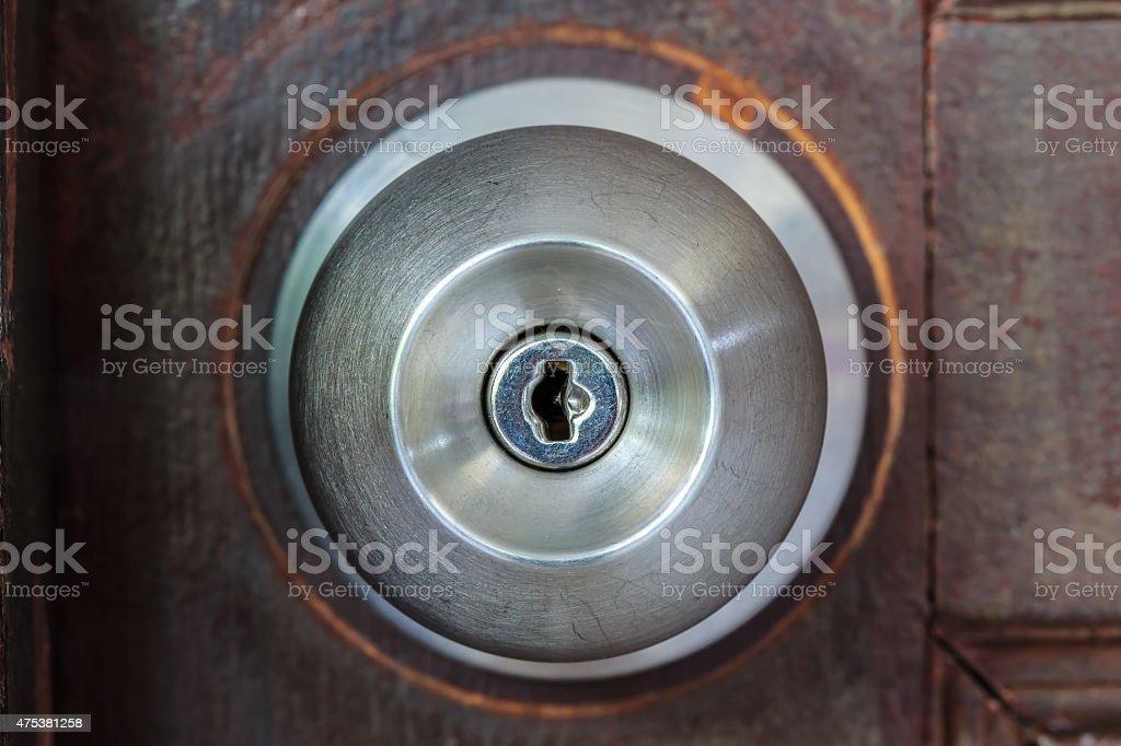 Closeup metal handle door royalty-free stock photo
