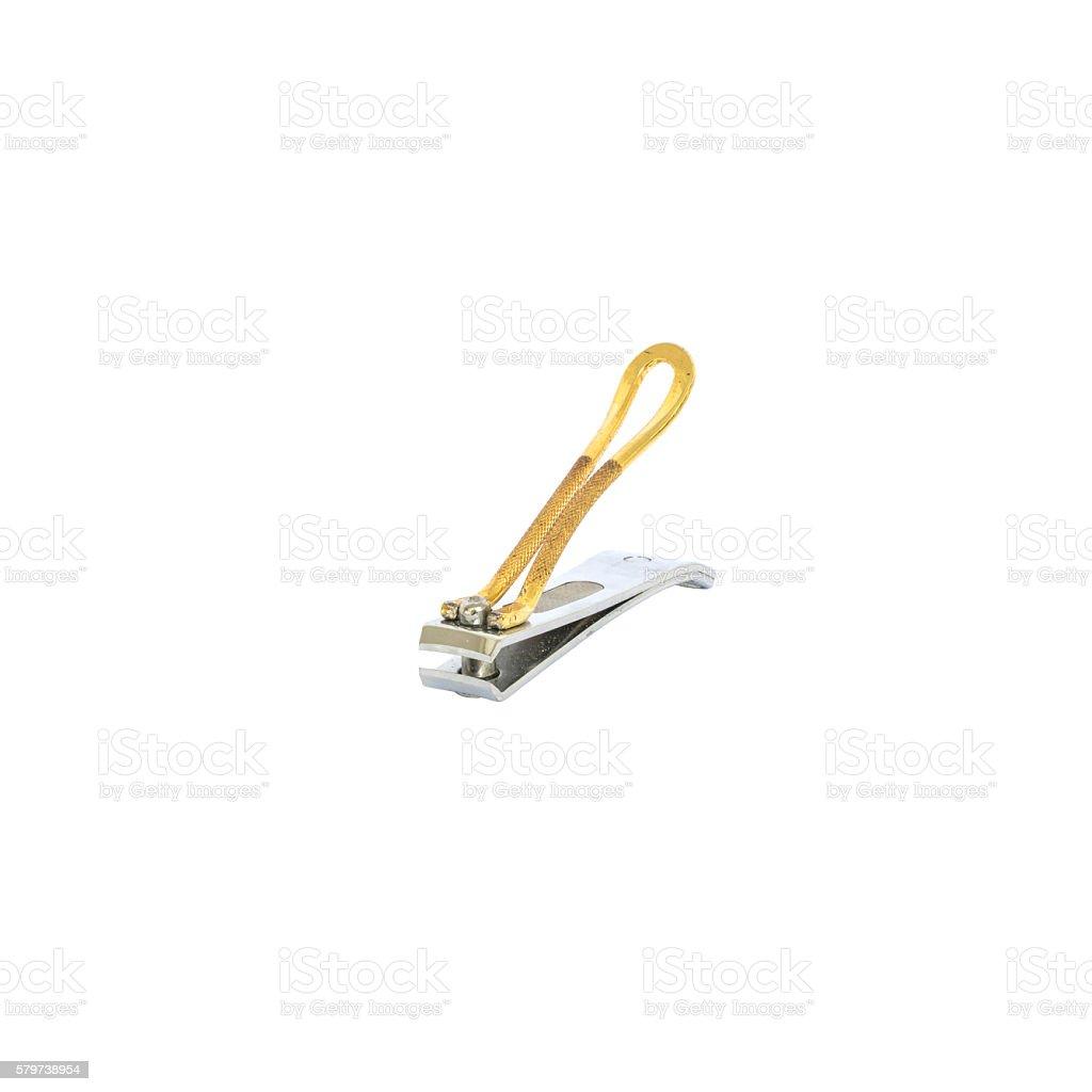 Closeup metal nail scissors isolated on white background stock photo
