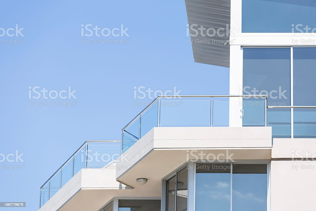 Delighful Modern Apartment Building Balcony Structure Glass
