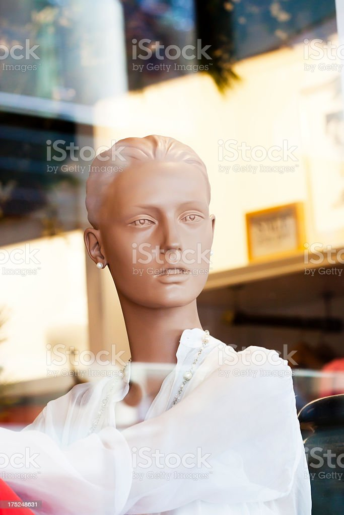Closeup modern female mannequin with white blouse royalty-free stock photo