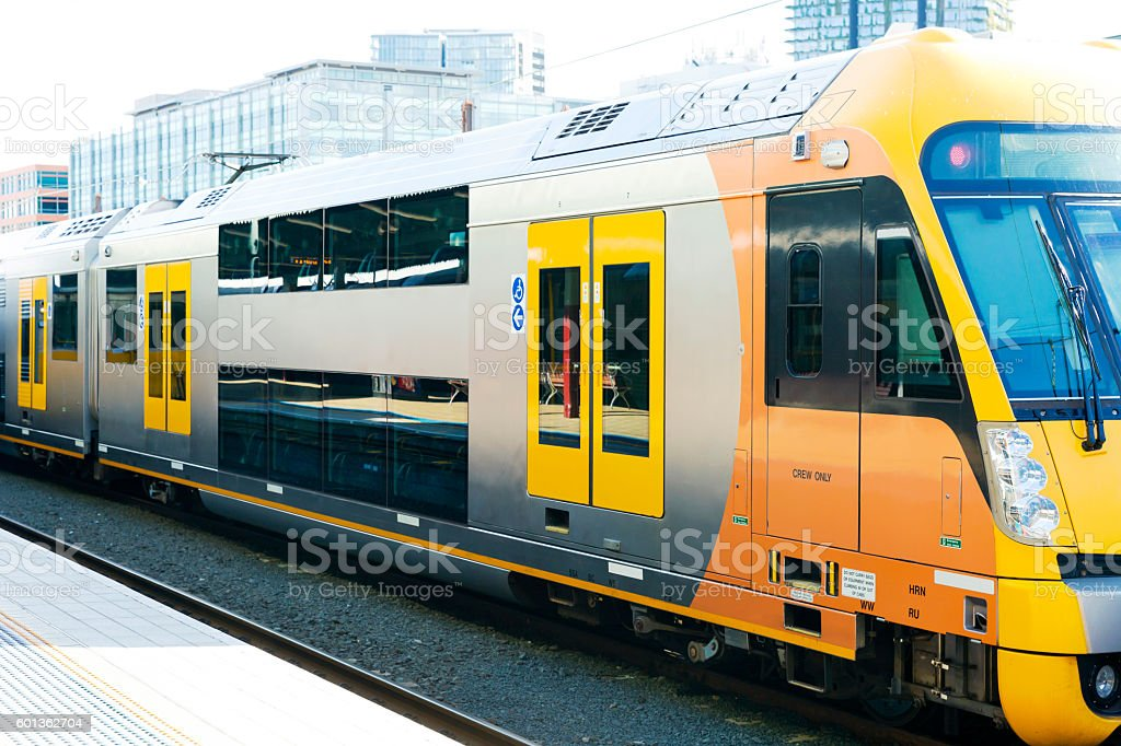 Closeup modern train at the station, Sydney Australia, copy space stock photo