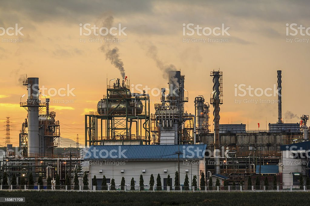Closeup Morning Oil Refinery royalty-free stock photo