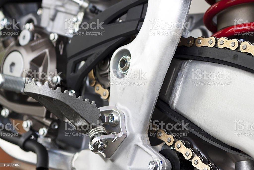 Closeup motorbike foot pedal stock photo