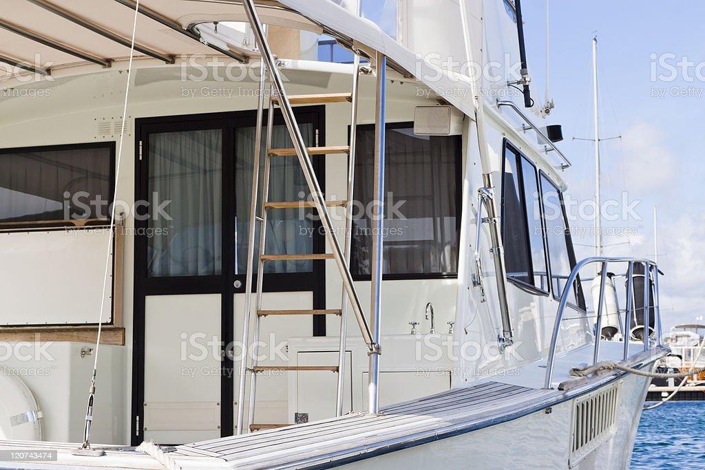 Closeup Motoryacht in marina royalty-free stock photo