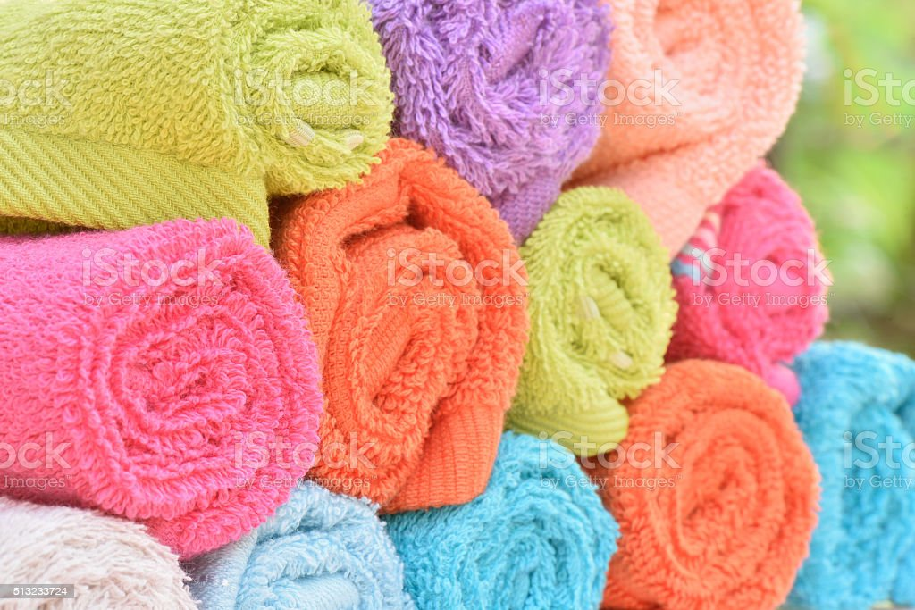 Closeup multicolor towels stock photo