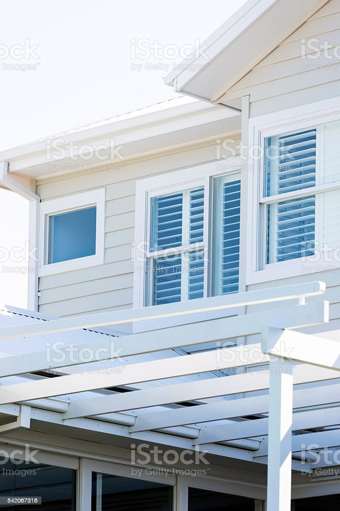Closeup new white modern house, copy space stock photo