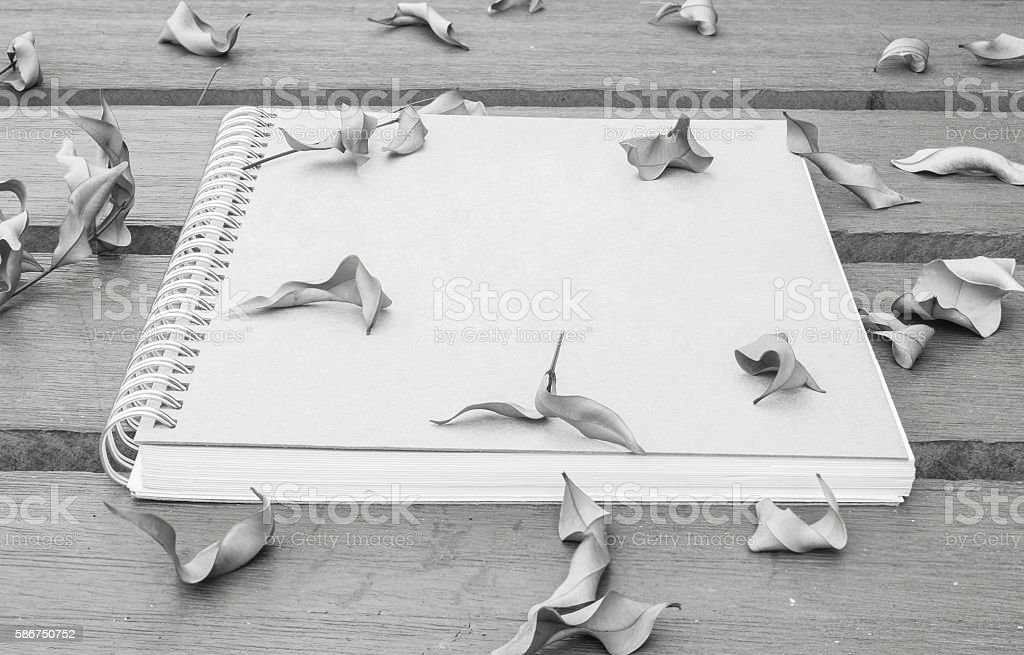 Closeup note book on wooden table in the garden stock photo