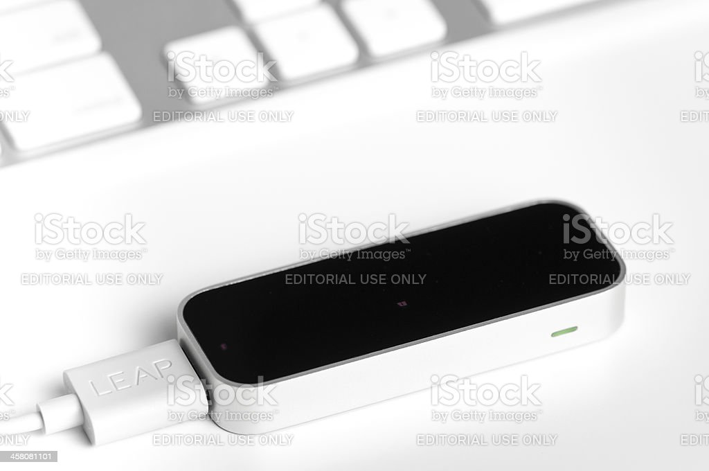 Close-up o a touchless Leap Motion device controller royalty-free stock photo