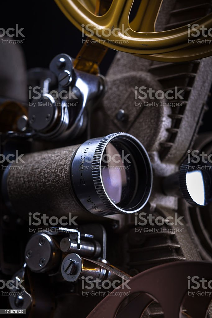 Close-Up of 16mm Film Projector Lens royalty-free stock photo
