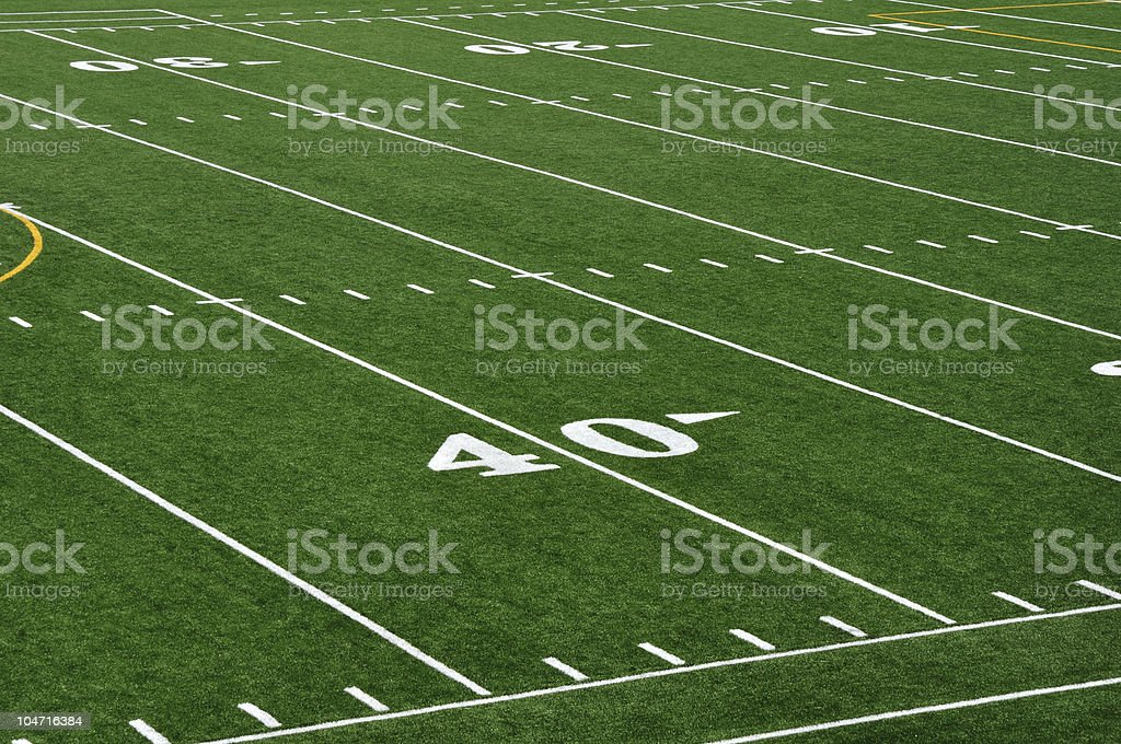 Close-up of 40 yard line of American football field stock photo