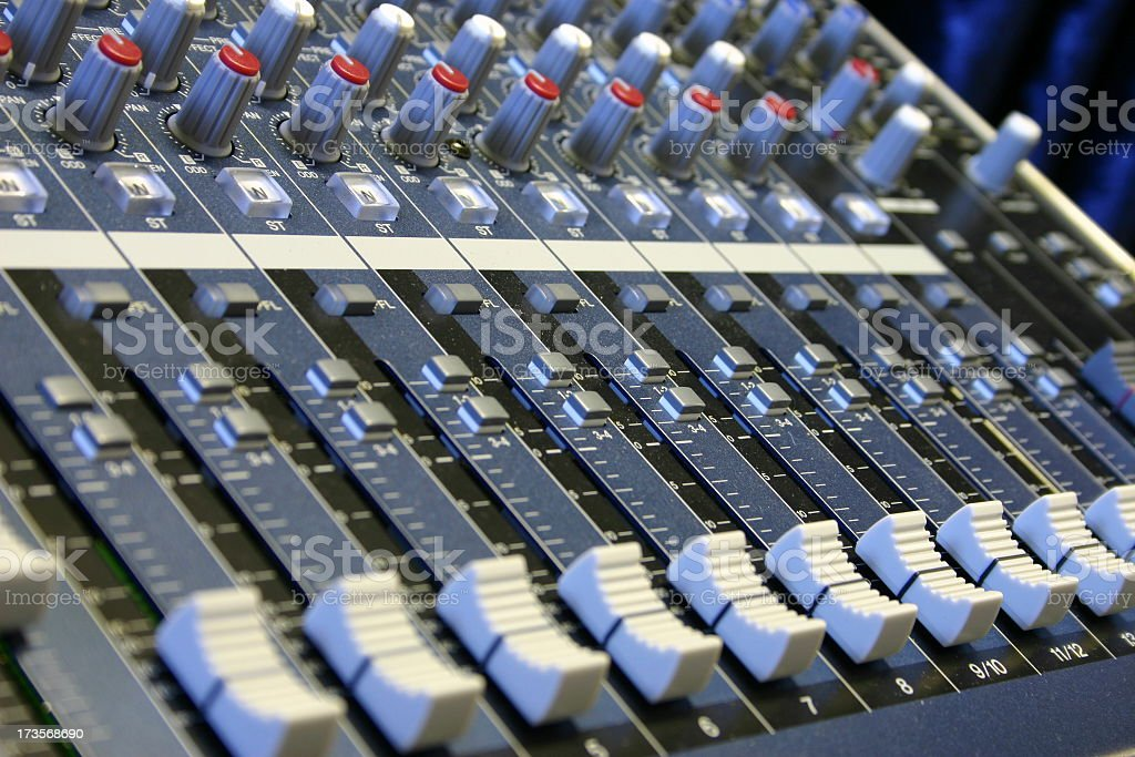 Closeup of a 16 Channel Mixer royalty-free stock photo