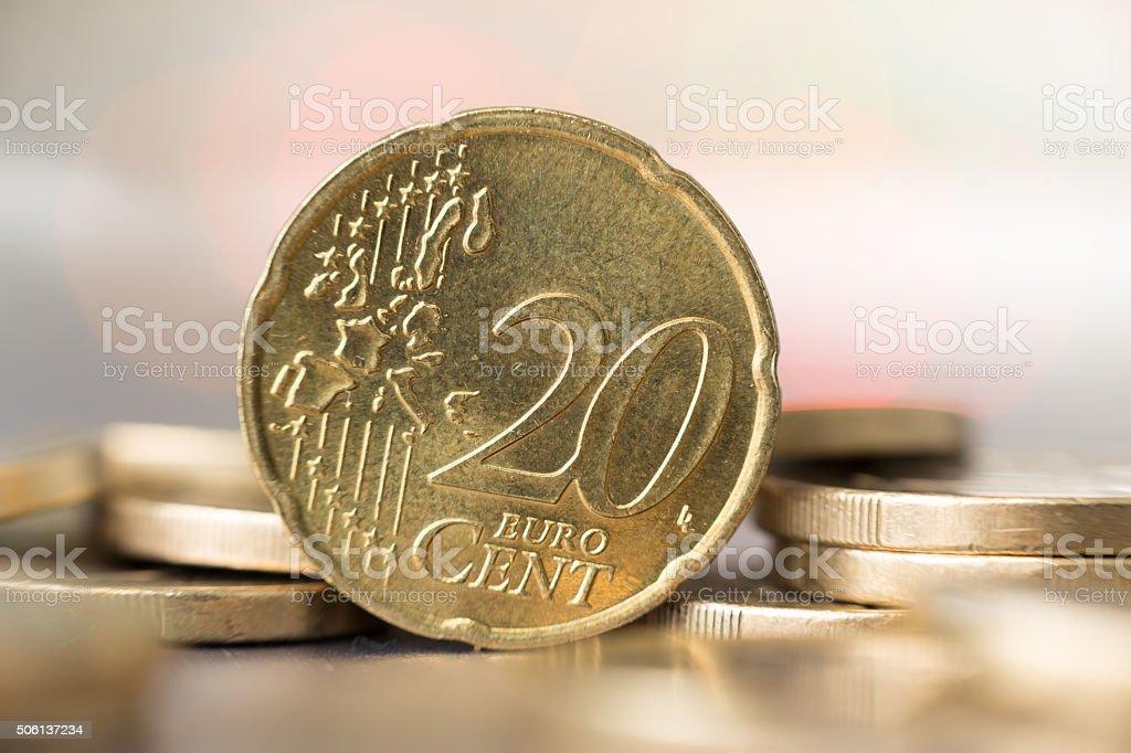 Closeup of a 20 euro cent coin stock photo