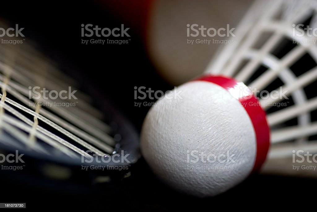 Close-up of a badminton racquet and shuttlecock royalty-free stock photo