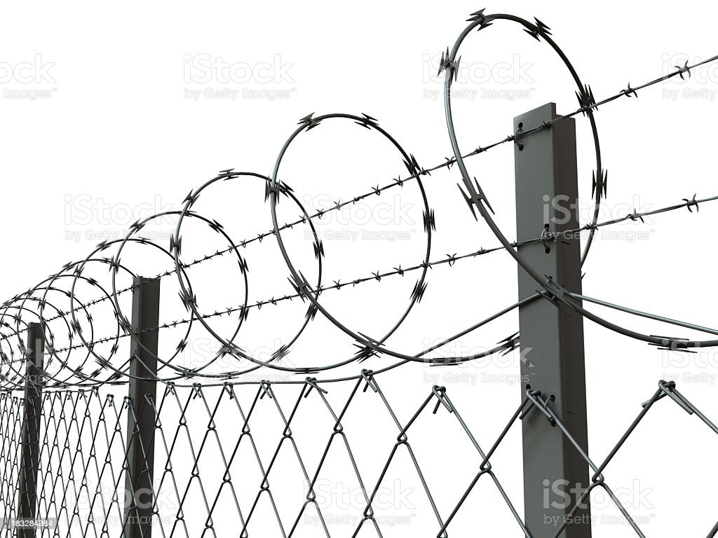 Close-up of a barbed wire fence royalty-free stock photo
