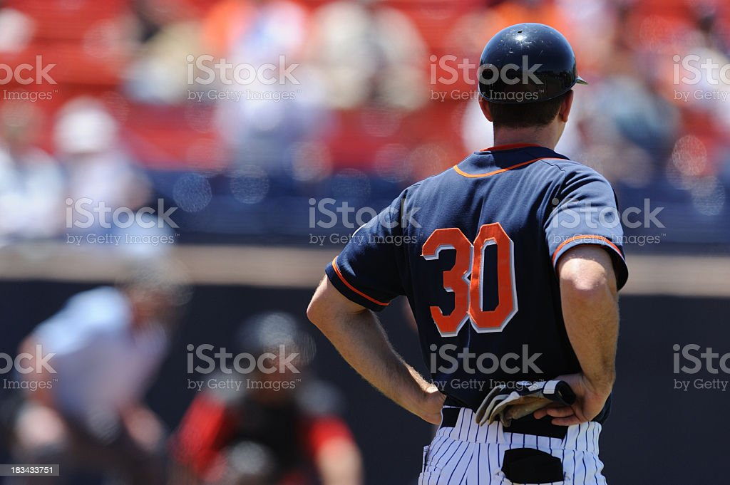 A close-up of a baseball coach at a baseball game stock photo