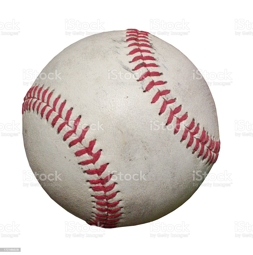 Close-up of a baseball on a white background royalty-free stock photo