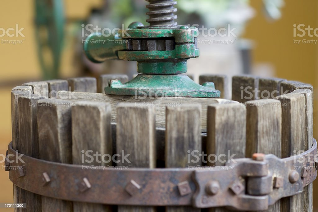 Close-up of a basket wine press stock photo