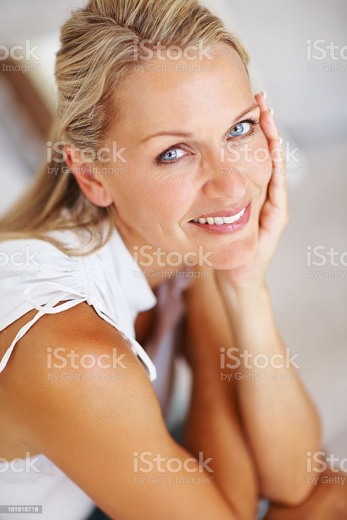 Close-up of a beautiful mature lady smiling royalty-free stock photo